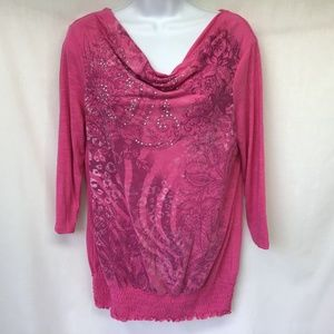 Style & Co Women Pink Top Floral Studs Sm